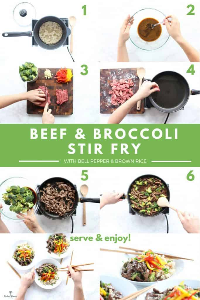Instructions for healthy beef and broccoli recipe.
