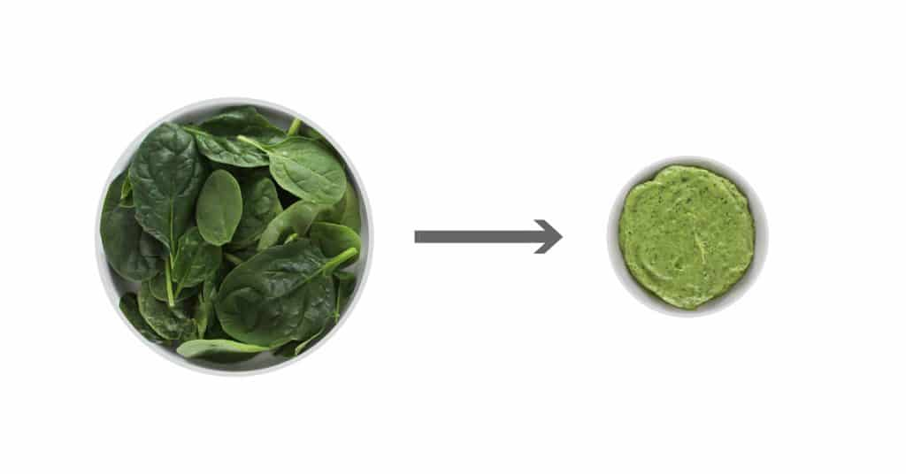 Spinach on white plate next to green sauce in white bowl.