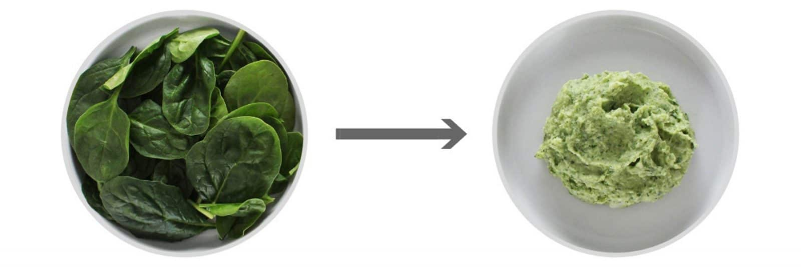 Spinach on round white plate next to spinach mashed potatoes on round white plate.