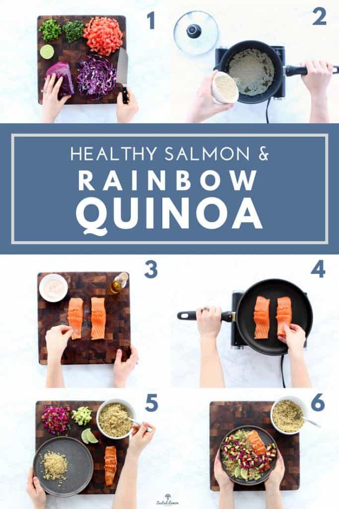Instructions for salmon and rainbow quinoa recipe.
